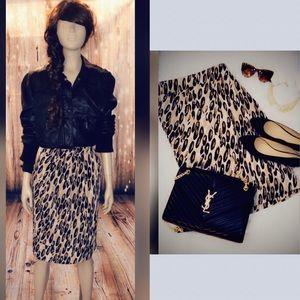 leopard print pencil skirt size xl
